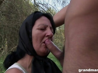 Crazy outdoor fucking with a handsome dude and a mature granny