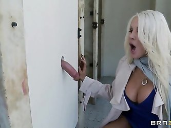 There is no one who wouldn't like to feel those large round breasts of blonde sex bomb Holly. This time she is getting rammed by a complete stran