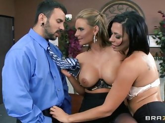 Watch hot blonde Phoenix Marieand sexy pornstar Rachel Starr playing with each other in their office. See how these naughty ladies making the guy craz