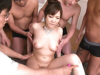 Ichika Asagiri can't get enough cock so she needs as many men as possible. She gets warmed up by having a vibrator rubbed on her pussy then takes