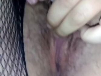 Ripping wife Fishnets open