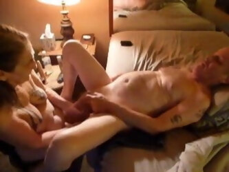 Fucking my husband's ass with a dildo & finger, blowjob