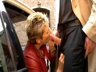 German Granny Fucked At Taxi