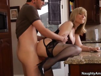 This milf is sucking like a pro, go for her video and you will sure be pleased with this nice mature blonde that is going to have some young boy in he