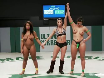 Hot naked bitches are fighting to win the other`s slut submission. They put each other in difficult sexual clutches, touching their titties and their