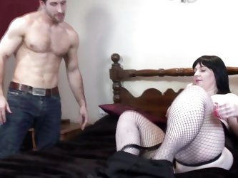 This hunk just got his paws on chubby slut Andi. She's a sensual, very curvy brunette that craves for a hard cock and wants it now. The dude begi