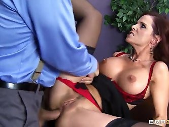 Cock addicted horny redhead milf Syren De Mer with huge juicy knockers gives amazing blowjob to handsome Ramon and screams loud while getting her ass