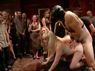 Blondes will always be our favorite, especially if they are so obedient like these ones! These sluts are bent over and ass fucked by a masked guy. The