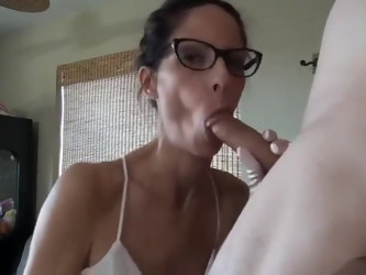 Handjob in Satin Gloves Cum on Face