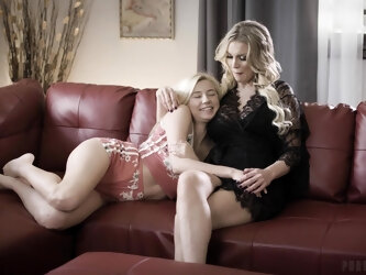 Two blondes Carolina Sweets and Kenzie Taylor having a threesome