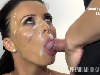 Vicky Love swallows 17 huge mouthful cumshots