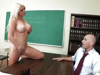 This hot blonde schoolgirl with perfect boobs, long sexy legs and shaved tight cunt is masturbating thinking about her teacher. After hours she makes