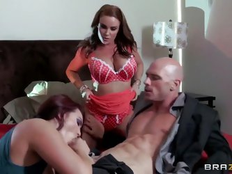 Johnny Sins is banging with two gorgeous milfs Diamond Foxxx and Mackenzee Pierce. Beauties are sucking his penis before getting it deep inside of the