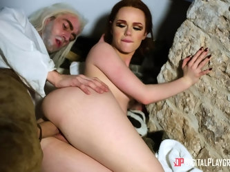 Game parody with redhead Ella Hughes who gets fucked by a fat cock