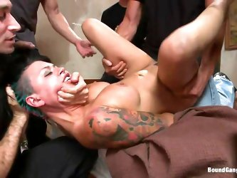 Eva Angelina is a white 27 years old american girl with a nice pair of tits which has the bad luck to be surrounded by five horny guys who like rough