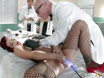 Beautiful Ryder Skye has agreed to be the patient for this scientific research. She's laying on the bed with a vibrator in her pussy. After the r