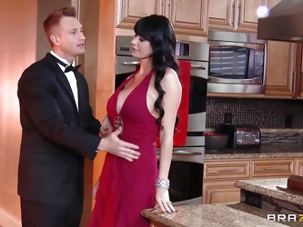 Eva is a one brunette milf who loves to play dirty. Her appealing body taunts that big dick guy and he is taking her to the kitchen. Then he gropes he