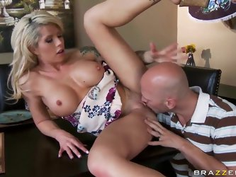 Turned on cheating tattooed blonde milf Brooke Haven with pretty face and stunning firm balloons gives head to horny Johnny Sins and rides on his huge
