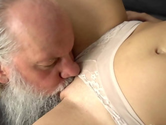 Innocent looking brunette gal named Henna Ssy fools around with a horny old man Albert in this freaky one on one session. He licks her pussy and gives