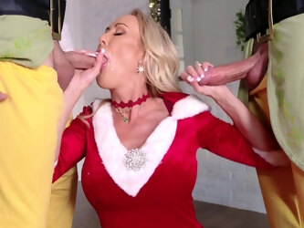 Kinky threesome with two guys and Ms. Claus aka Brandi Love